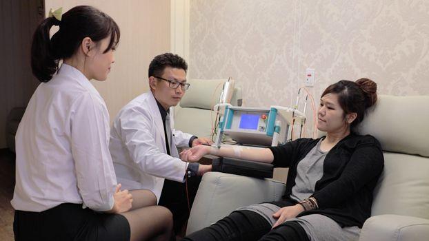 多光譜靜脈雷射醫療過程示意圖